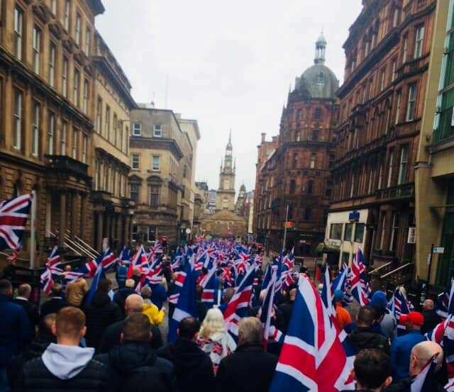 A Sea of Saltires and Union Jacks on West George Street, 18-5-19