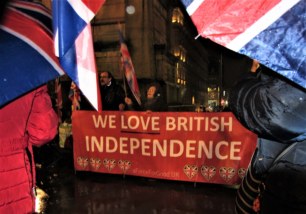 AFFG's Banner 'We Love British Independence' was on display. Pic AFFG 31-1-20.