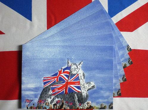 5 Greeting Cards Union Jacks at the Kelpies