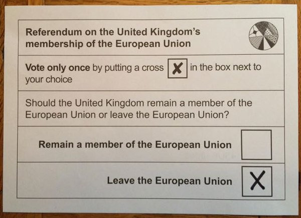 The Ballot Paper on 23 June 2016 mentioned the European Union 5 times!