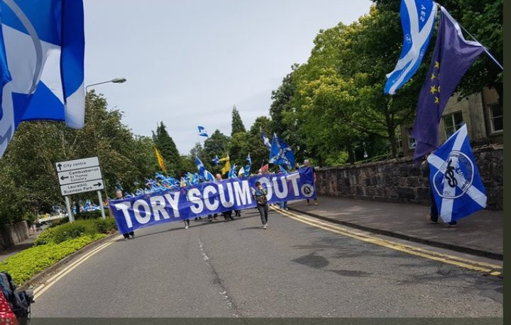 Tory Scum Out Banner at SNP Nationalist March 23-6-18