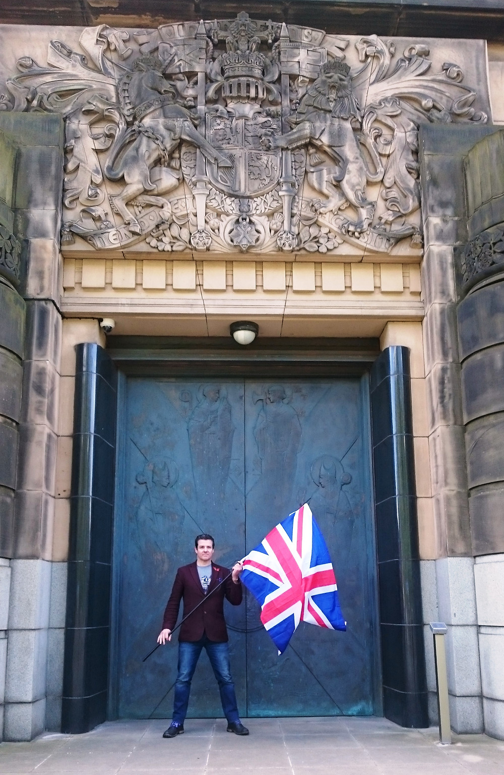 AFFG Director, Alistair McConnachie outside the amazing entrance of the former Scottish Office. Pic AFFG 23-4-17.