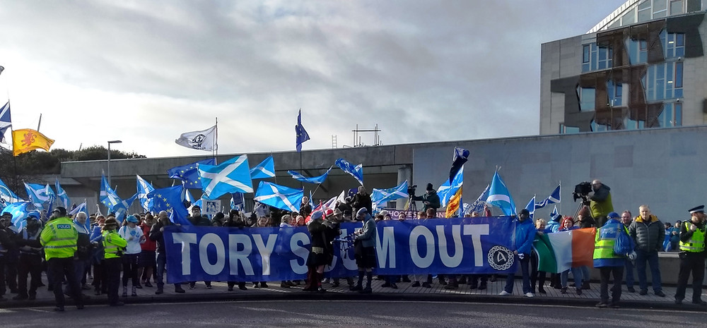 The Tory Scum Out people faced off A Force For Good at Holyrood 1-2-20. Pic AFFG