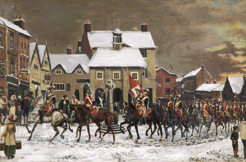 'The Pretender's Troops Entering Altrincham at Dawn, 1 December 1745'. It is by Tom Colley.