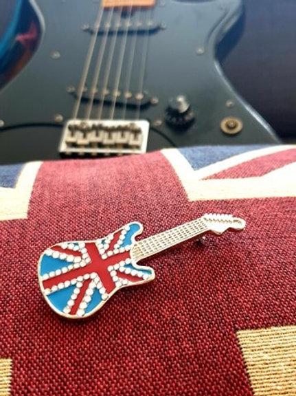 Union Jack Guitar enamel pin badge