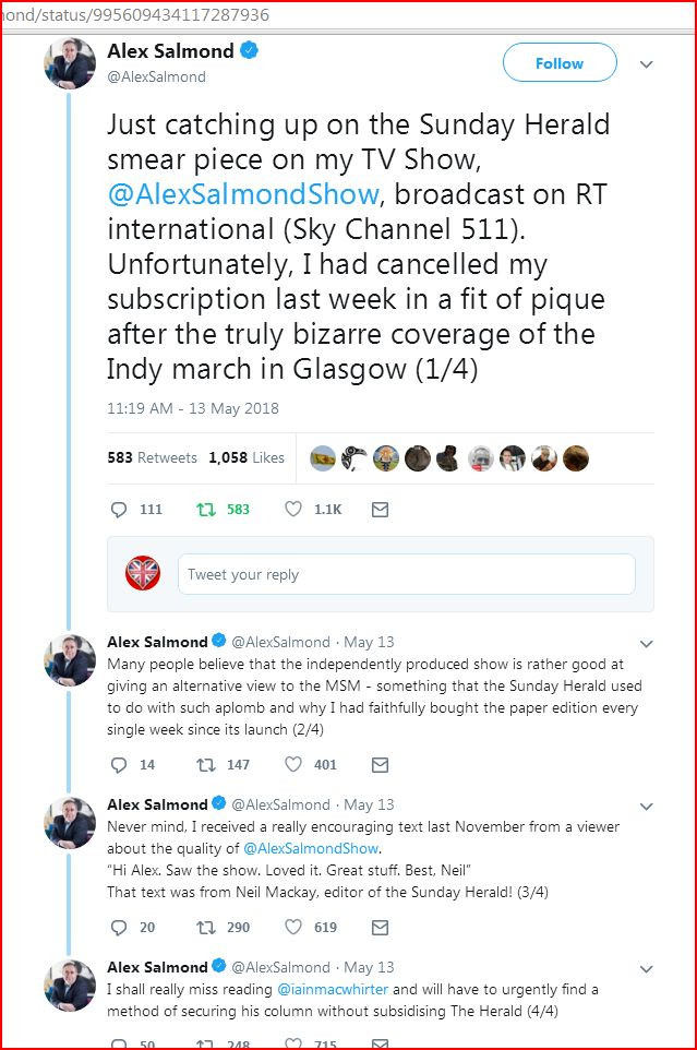 Alex Salmond cancels Sunday Herald Tweet 13-5-18