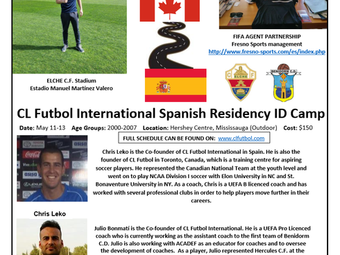 CL Futbol International to Host Residency ID Camp in Canada