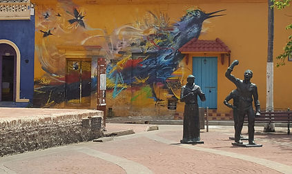Street art of a bird in Plaza Trinidad in Cartagena, Colombia