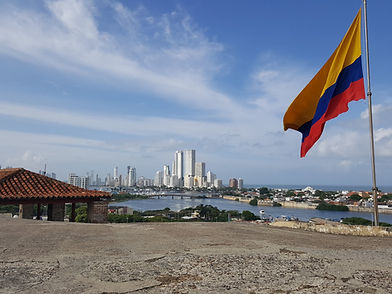 View of Bocagrande in Cartagena and the Colombian flag from Castillo San Felipe