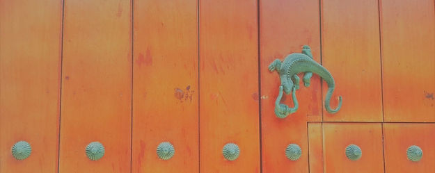 Traditional lizard door knocker in Cartagena, Colombia.