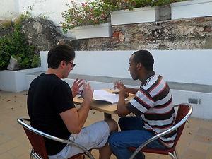 Gustavo Valiente teaches a Spanish class in Cartagena