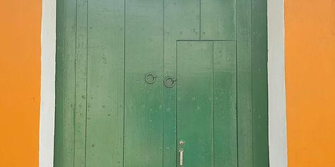 Green door in Cartagena, Colombia