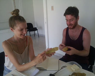 Letra Caribe students try local food in class in Cartagena.
