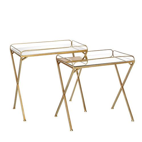 Set 2 mesas auxiliares oro/metal/espejo