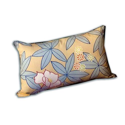 Cojín lino estampado flores y lino liso 60 x 30 cm