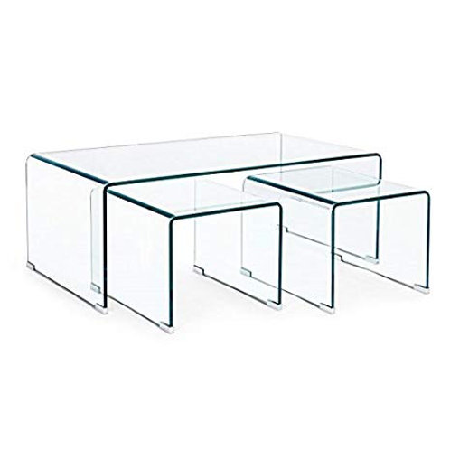 Mesa de centro cristal Set de 3 (110x60x41) cm