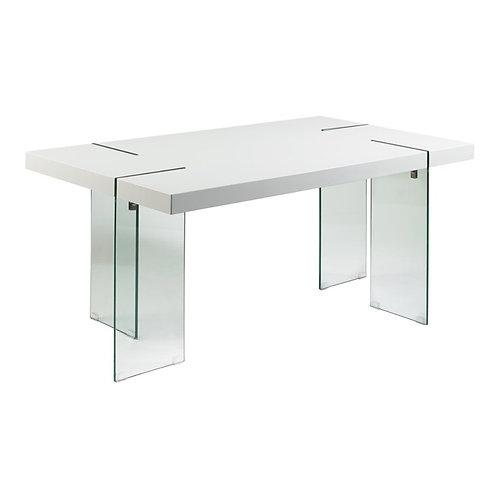 Mesa de comedor laca blanca/cristal 160x90x75 cm
