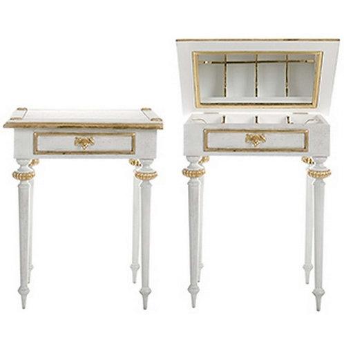Mesilla de noche madera blanca/oro 70 x 45 x 75