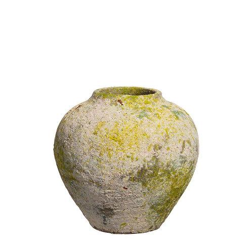 Jarrón cerámica envejecido al musgo verde