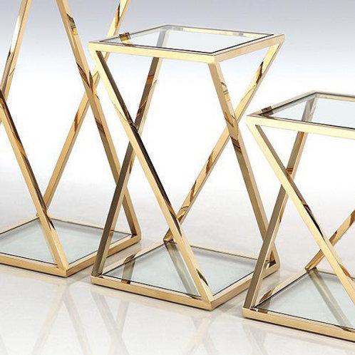 Mesas auxiliares de acero dorado y cristal set de 3