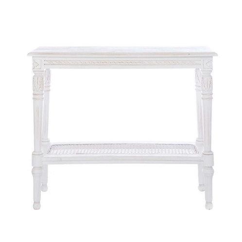 Consola de madera blanca 2 estantes 90 x 36 x 80 cm