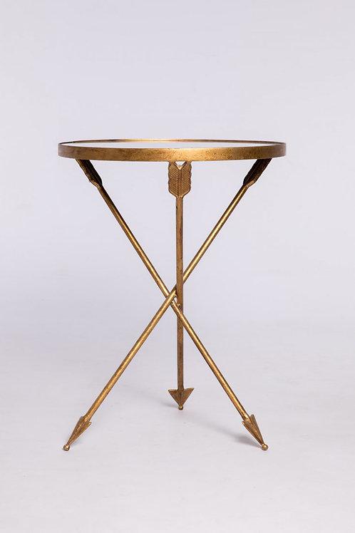 Mesa auxiliar acero dorado y cristal 48 cm
