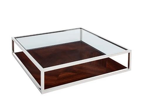 Mesa de centro marrón/plata 126 X 126 X 30 CM