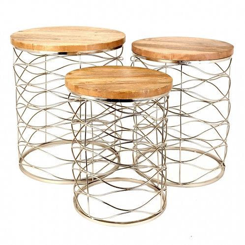 Mesa auxiliar oro/madera Set de 3
