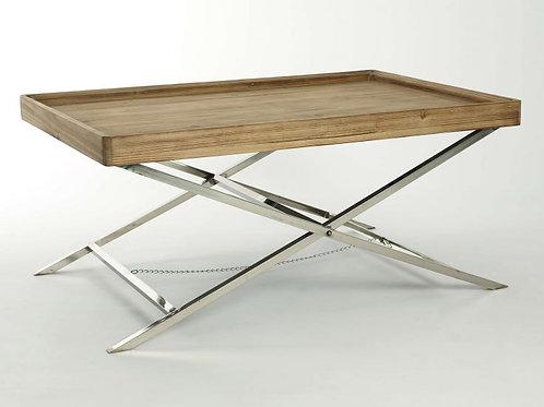 Mesas de centro acero tijera y madera 1x66x49