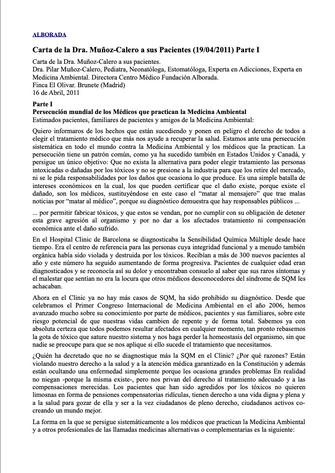 Carta de la Dra. Muñoz-Calero a sus pacientes. Abr. 2011