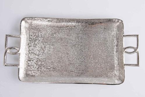 Bandeja aluminio plateado rugoso 43 x 21 cm