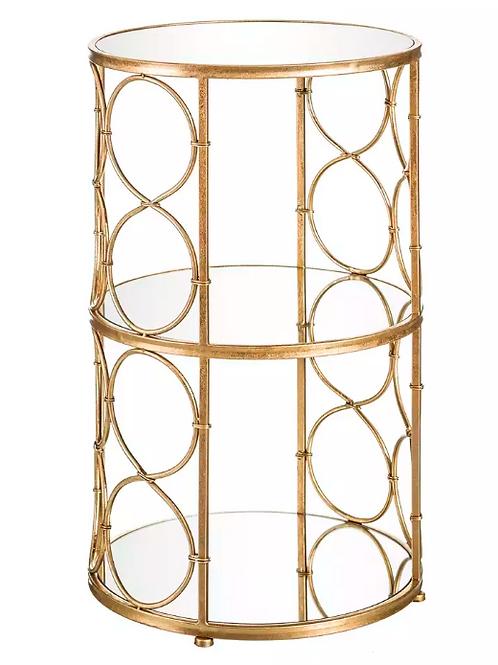 Mesa auxiliar 3 baldas oro/espejo 41 x 41 x 66,50 cm
