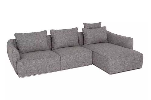Sofá con chaise longue 285 x 163 x 84 cm gris