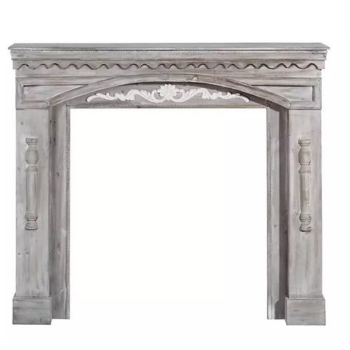 Frente de Chimenea en madera Blanca rozada 116 X 19 X 102 CM