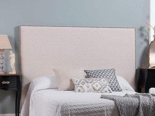 Cabecero tapizado tachuelas doradas 160x100 cm