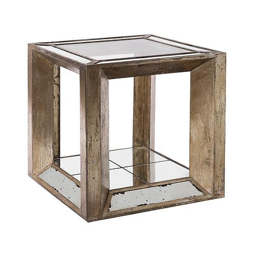 Mesa auxiliar madera y espejo envejecido 60 x 60 x 60 cm