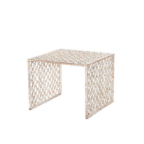 Mesa auxiliar hierro al óxido blanca 50 x 50 x 40 cm.
