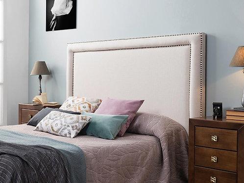 Cabecero tapizado tachuelas dobles doradas 160x100 cm