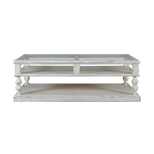Mesa de centro madera de cedro envejecida/cristal 138 x 78 x 45 cm