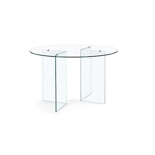 Mesa de comedor redonda transparente 130 x 75 cm
