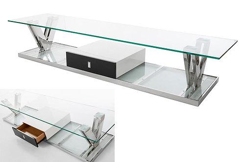 Mueble TV acero y cristal 200 x 42 x 50 cm