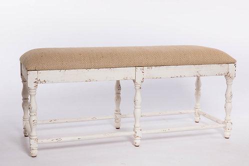 Banco madera envejecida blanco tapizado en espiga