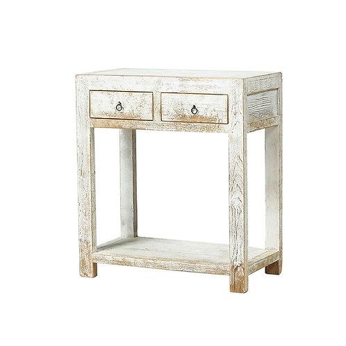 Mesilla rústica madera blanco o azul decapado 80 x 42 x 90 cm