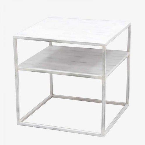 Mesa auxiliar hierro blanco 50 x 50 x 50 cm