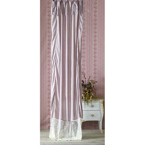 Cortina rosa con encaje 150 x 300 cm