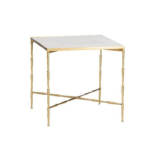 Mesa auxiliar mármol blanco o verde/dorada 60 x 60 x  58 cm
