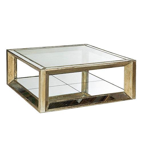 Mesa de centro madera y espejo cuadrada o rectangular