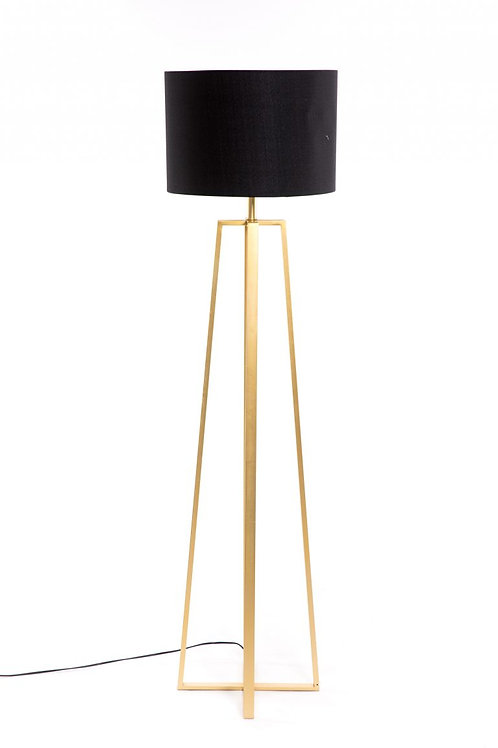 Lámpara de pié dorada con pantalla negra
