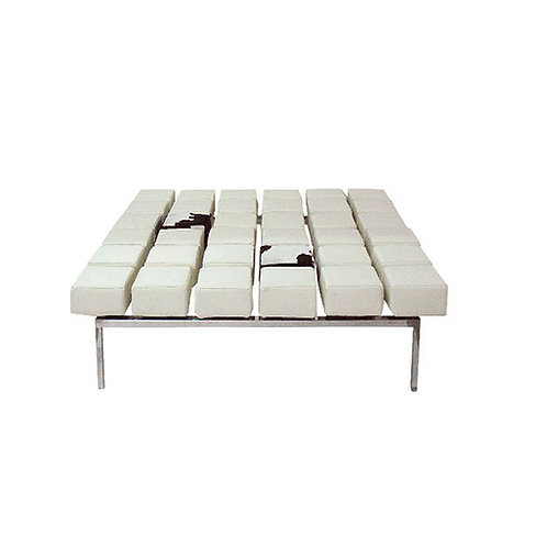 Mesa de centro cuero blanca 106x106x38 cm