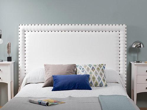 Cabecero tapizado tachulas doble plata 160x100 cm